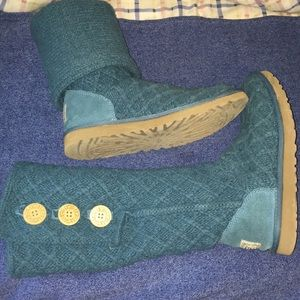 Teal UGG tall / short button sweater boots